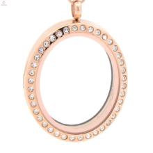 2018 ronde charmes flottants sirène collier de forme ovale pour les couples