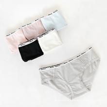 Letra do esporte Print Waist Brand Women Panties Pure Color Basic Cotton Cozy Underwear