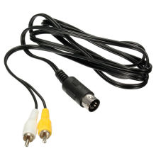 Câble de câble audio vidéo composite AV 1,8 m noir pour Mega Drive de cinquième génération Câble de câble maître 1