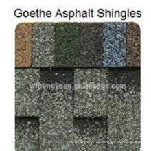 Teja de tejado asfáltico Goethe / Tejido de teja de fibra de vidrio colorido autoadhesivo / material de techado del betún con ISO (12 colores)