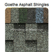 Goethe Asphalt Roof Shingle /Self Adhesive Colorful Fibreglass Roof Tile /Bitumen Roofing Material with ISO (12 Colors)
