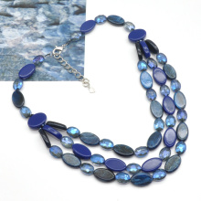2021 Spring summer collection 3 layers acrylic flat beads link chain women necklace