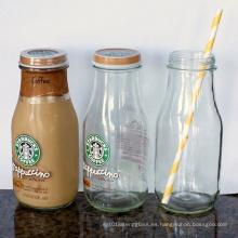 250ml 500ml 1000ml Botella de vidrio de jugo de leche con tapas de giro