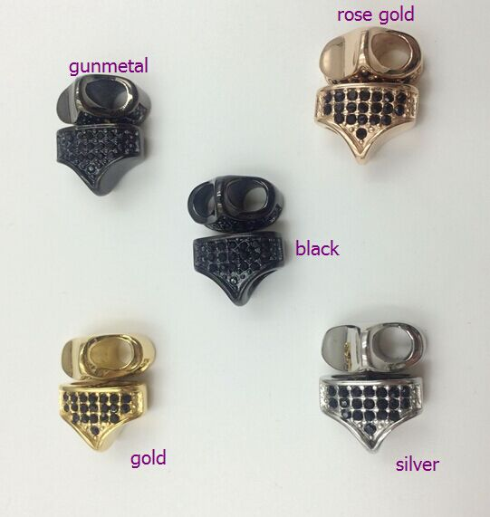 5A CZ Stone Leather Bracelet Triangle Charms
