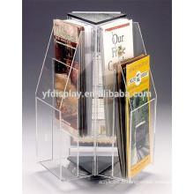 haute qualité tournant le porte-brochure acrylique clair pour l'affichage de la publicité