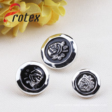 2cm Black Rose Button, Plastic Button
