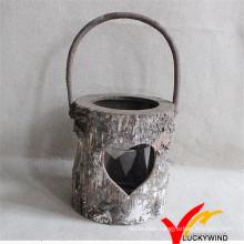 Wooden Candle Lantern Heart Shape Decor