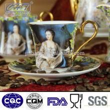 150ml neues Design dekorative Porzellan Kaffeetasse und Untertasse gesetzt