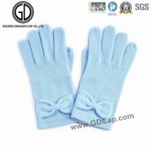Guante de punto hecho a mano azul lindo del invierno del Bowknot caliente