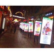 Caixa de luz para mochila ao ar livre para exibição de publicidade