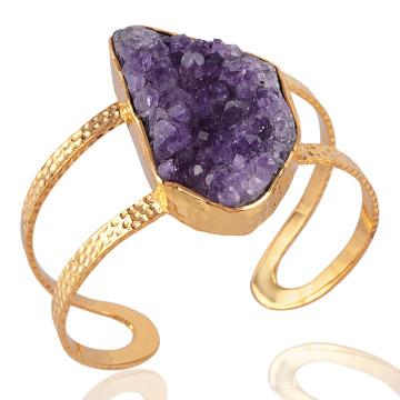 Bracelete Amethyst Natural Drusy e Bracelete De Ouro