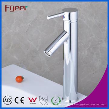 Fyeer Chrome plateado alto cuerpo hacia abajo de largo canalón sola manija lavabo grifo fregadero mezclador de agua grifo Wasserhahn
