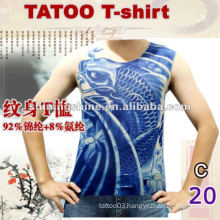 2016 hot sale sleeveless blue tattoo t-shirt, tattoo clothing