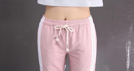 Womens Side Stripe Cotton Sports Pants