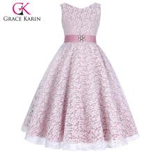 Grace Karin Latest Design Sleeveless V-Neck Beige Lace Flower Girl Dress Small Girls Dress Up Games For Girls CL008938-6