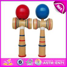 Kendama populaire avec haute qualité, jeu en bois coloré de jouet de Kendama de taille différente, jouet en bois de Kendama avec 18 * 6 * 7cm W01A015