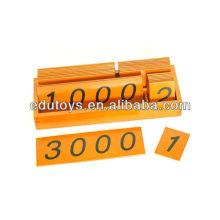 Montessori Grandes tarjetas de madera con caja (1-3000)