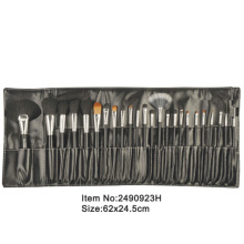 24pcs black plastic handle animal/nylon hair cosmetic brush set with black PU folder