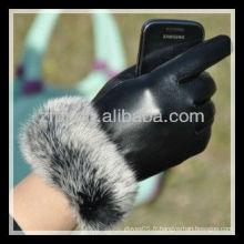 Gants tactile de style de luxe paume en cuir pour ipad