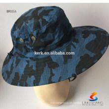 HW035 LINGSHANG100% POLYESTER Fashion Custom Camo Boonie Hysteresen Caps mit Strings Beach Fischen Eimer Hut