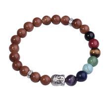 7 granos de la piedra preciosa de chakra el budismo y el Buda de la aleación de pulsera Goldstone