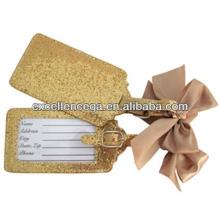Etiqueta de equipaje plateado oro