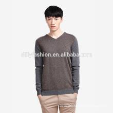 Fashionable cashmere V neck color blocking knit sweater for men