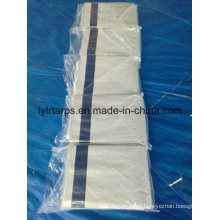 Black Polythylene Woven Fabric Tarpaulin Cover, LDPE Coated White Color PE Tarpaulin Sheet with 6 Blue Bands Be Strengthened
