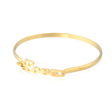 Nueva llegada 24Kt Gold Girl Fancy Bangle Te amo infinito Love Bangles