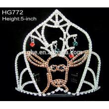 Com 12 anos de experiência, fábrica diretamente cristal redondo rodada tiara