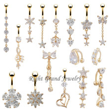 Único vientre Piercing variedad 24K oro cuelgan ombligo anillo