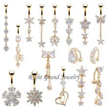 Einzigartige Bauchnabelpiercing Vielzahl 24 Karat Gold Dangle Nabel Ring