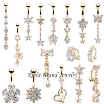 Einzigartige Vielfalt 24K Gold Dangle Nabel Ring Piercing Bauch