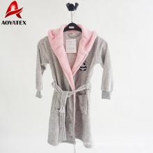 Albornoz de lana de microfibra de felpa con capucha para niñas dama