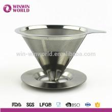 El acero inoxidable vendedor caliente del metal vierte sobre el filtro de café reutilizable del goteador del cono