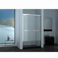 Tempered Glass Shower Screen with Stainless Steel Frame and Handle, with Double Sliding Door