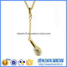 Cheap Gold Plated Metal Alloy Necklace with Microphone Pendant