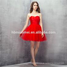 Foto real! Aline fora do ombro cor sólida vermelho curto vestidos de dama de honra