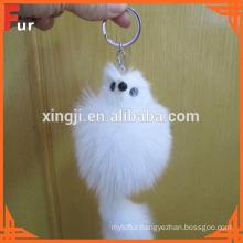 Large Fox Shaped Fox Fur Keychain