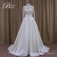 Manga comprida Love cetim vestido de noiva para sempre
