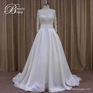 Long Sleeve Satin Love Forever Wedding Dress