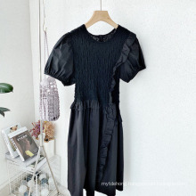 Sweet Round Neck Solid Color Puff Sleeve MID-Length Dress