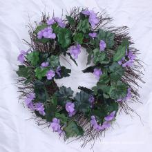 Искусственные вечнозеленые венки с цветами