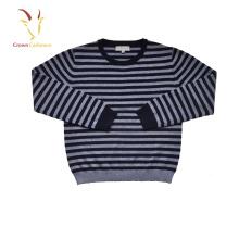 Crianças lã lã de Cashmere tricotada grossa Stripe pullover camisolas