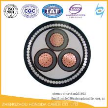 33KV 3 Core 185mm2 PE / PVC / SWA / XLPE cable de cobre subterráneo
