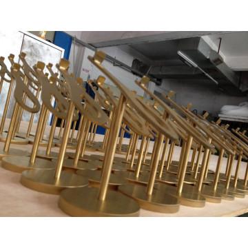 Pai Metal aço inoxidável Eletroplating ouro sapatos Display Rack prateleira de exposição de roupas