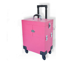 Cusmetic Case Beauty Trolley Personnalisé PU Rose