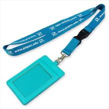 Cuero de la convención PU Nombre / Tarjeta de identificación Insignia Reel Holder Custom Lanyard para ID Badge (NLC010)