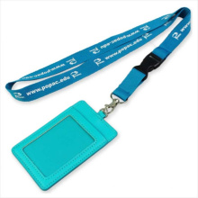 Convention Leather PU Name/ID Card Badge Reel Holder Custom Lanyard for ID Badge (NLC010)