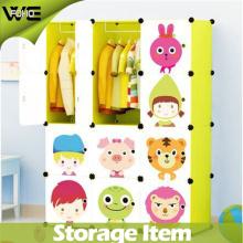 DIY Fashion Storage Cabinet Folding Kids Plastic Wardrobe
